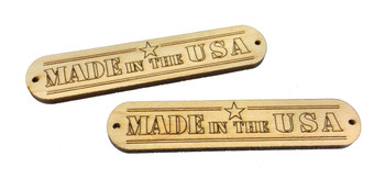 "2pc. ""Made in the USA"" Hardwood Badges (Style 1) - Choose Mahogany, Maple or Padauk"