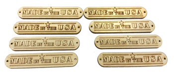 "8pc. ""Made in the USA"" Hardwood Badges (Style 1) - Choose Mahogany, Maple and Padauk"