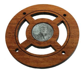"""""""War Effort"""" Vintage U. S. Steel Penny Sound Hole Cover for Cigar Box Guitars"""