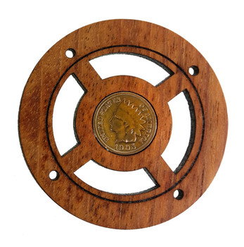 """Indian Head"" Vintage Penny Sound Hole Cover for Cigar Box Guitars"