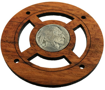 """Buffalo Nickel"" (Front Side) Vintage Coin Sound Hole Cover for Cigar Box Guitars"