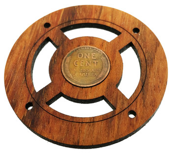 """""""Wheat Penny"""" Vintage Coin Sound Hole Cover for Cigar Box Guitars"""