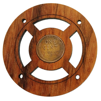 """Wheat Penny"" Vintage Coin Sound Hole Cover for Cigar Box Guitars"