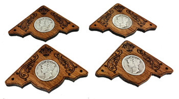 4pc. Mahogany Box Corners with Silver U. S. Mercury Dimes - Heirloom-grade Cigar Box Guitar Parts