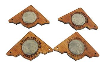 "4pc. ""Indian Head Nickel"" Mahogany Box Corners - featuring real U. S. Coins"