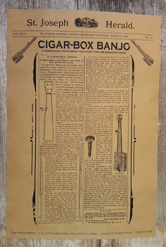 1886 Cigar Box Banjo Plans 12x18 Poster - reprint of real, vintage cigar box guitar plans!