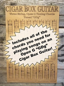 Three-string Open G Chord Poster for Cigar Box Guitar & More