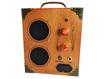 """The """"Delta Driver"""" Dual-Speaker, Dual-Input Cigar Box Amplifier - for MP3/Smartphones and/or Guitar!"""