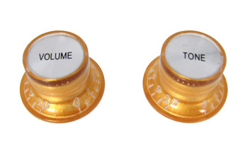 2pc. Gold Top-hat Style Acrylic Knobs - Volume & Tone