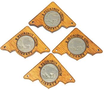 "4pc. ""Buffalo Nickel"" Mahogany Box Corners - featuring real U. S. Coins"