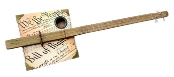 """Founder's Faith"" 3-string Fretted Cigar Box Guitar featuring the U. S. Constitution & Bill of Rights"
