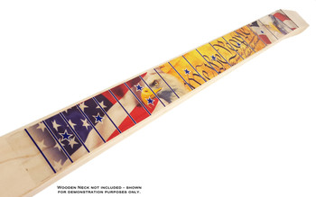 Patriotic USA Full-color Peel-and-Stick Fretboard Decal for Cigar Box Guitar - 25-inch Scale
