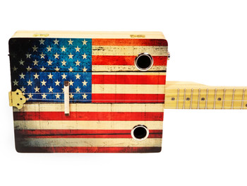 """Old Glory"" Illustrated 3-string Cigar Box Guitar - Beautiful Design, Rich Tone, a Joy to Play"