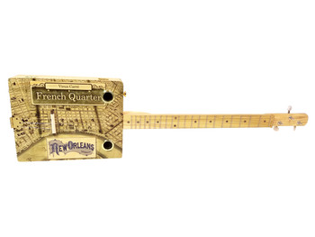 """French Quarter"" Illustrated 3-string Cigar Box Guitar - Beautiful Design, Rich Tone, a Joy to Play"