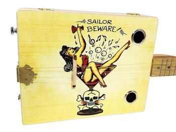 """Sailor Beware"" Vintage Tattoo Art Illustrated 3-string Cigar Box Guitar"