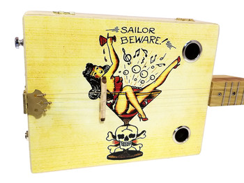"""Sailor Beware"" Illustrated 3-string Cigar Box Guitar - Vintage Tattoo Art Series"