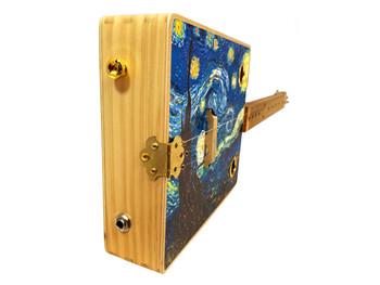 """Starry Night"" 3-string Illustrated Cigar Box Guitar"