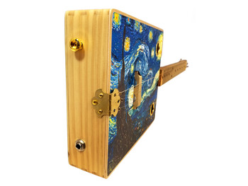 """Starry Night"" 3-string Illustrated Cigar Box Guitar - Fine Art Series"