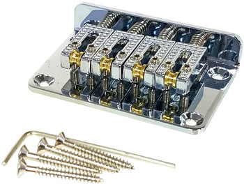 "4-string Chrome Hard-tail ""Roller"" Style Bridge for Cigar Box Guitars & More - Top & Bottom Loading!"