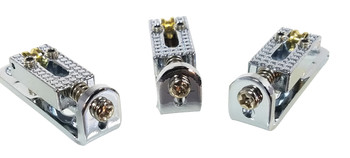 "3pc. Chrome Roller-style ""Indie Bridges"" - 1-string Hard-tail Bridges for Cigar Box Guitars & More"