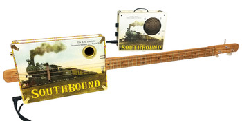 """Southbound Katy"" Rail-hopper Combo - Fully Fretted 3-string Open G Cigar Box Guitar/ Amp Combo"