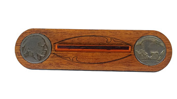 """Hobo Nickel"" Cigar Box Guitar Bridge with vintage U. S. Buffalo Nickels"