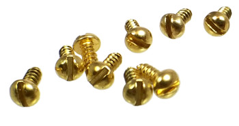 "100pc. #2 x 1/4"" Gold (Brass-plated) Round-head SLOTTED Screws"