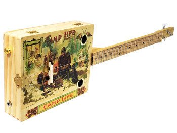 """Camp Life"" 3-string Illustrated Cigar Box Guitar - features vintage cigar box artwork"