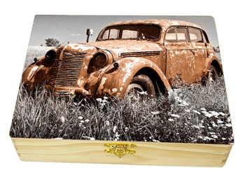 """Rusty Gold"" Illustrated Wooden Cigar Box - image printed in full color right on the box top!"