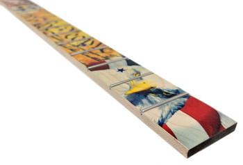 """Patriotic USA"" - Full-color Hard Maple Illustrated Cigar Box Guitar Fretboard - choose fretting options"