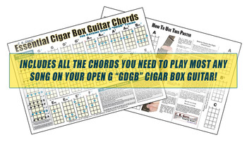"Open G 4-string ""GDGB"" Essential Cigar Box Guitar Chords Poster"