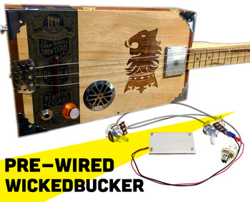 "Fully Pre-Wired ""WickedBucker"" Surface-Mount Humbucker Pickup Harness - No Soldering!"