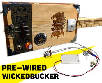"Fully Pre-Wired ""WickedBucker"" Surface-Mount Humbucker Pickup Harness - No Soldering!"