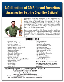 "Four-String Cigar Box Guitar Songbook - Vol. 1: 150 pages of Songs Arranged for Open G ""GDGB"""