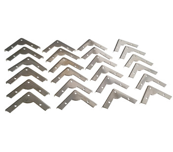 24pc. Low-Profile Nickel-Plated Box Corners with Screws