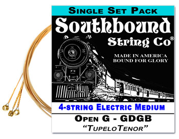 """Tupelo Tenor"" GDGB String Set for 23"" Scale 4-string  Electric Cigar Box Guitars"