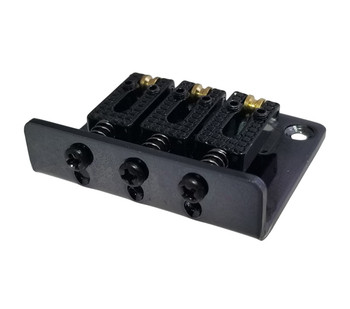 3-string Black Hard-tail Roller-style Bridge for Cigar Box Guitars & More - Top & Bottom Loading!
