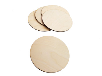 "5pc. 6 1/8"" Diameter 1/8-inch Thick Arctic Birch Plywood Discs"