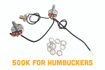 "EconoHarness ""Fat-bottom 500"" - pre-wired with full-size 500KOhm Volume & Tone pots + Jack"
