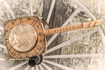 """The """"Wagon Wheel"""" Tenor Banjo - a unique heirloom instrument hand-crafted by Ben """"Gitty"""" Baker"""