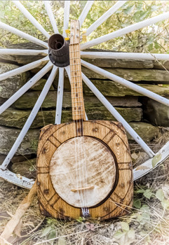"The ""Wagon Wheel"" Tenor Banjo - a unique heirloom instrument hand-crafted by Ben ""Gitty"" Baker"