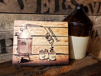 """""""Moonshine"""" Illustrated Wooden Cigar Box - vintage inspired image printed in full color right on the box top!"""