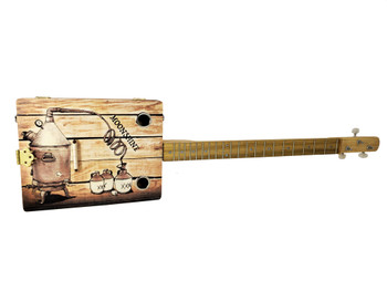 """The Moonshiner"" 3-string Illustrated Cigar Box Guitar - Beautiful Original Design"