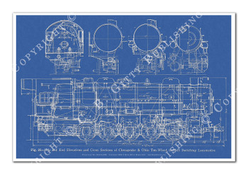 0-10-0 ALCO Switcher Steam Locomotive Blueprint-style 12x18in. Poster
