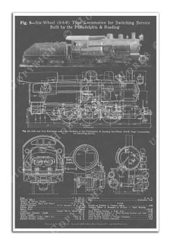 0-6-0 Switcher Steam Locomotive Blueprint-style 12x18in. Poster