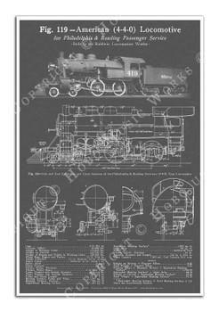 "Baldwin 4-4-0 ""American"" Steam Locomotive Blueprint-style 12x18in. Poster"