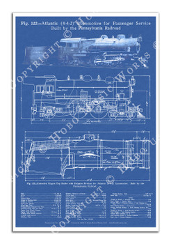 "Pennsylvania Railroad 4-4-2 ""Atlantic"" Steam Locomotive Blueprint-style 12x18in. Poster"
