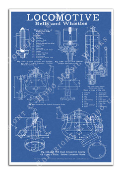 Steam Locomotive Bells and Whistles Blueprint-style 12x18in. Poster