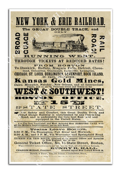 Digitally Restored New York & Erie Railroad Broadside Poster from 1868