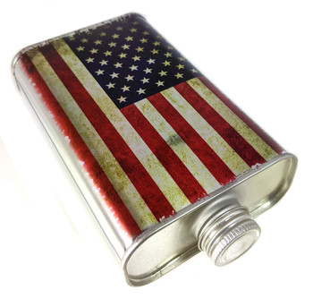 Weathered American Flag 1-pint F-style Can with Lid - Great for Canjos, Resonators & More!